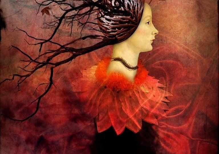 kadının saçları ağaç olmuş