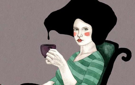 sıvı saçlı kadın