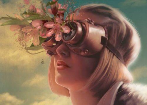 pilot gözlükleriyle çiçekler