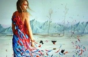 kadın çölde kuşlarla beraber