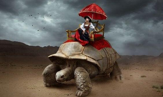 kadın kaplumbağa üstüne gidiyor