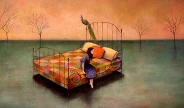 ıssız yerde yatakta oturmak