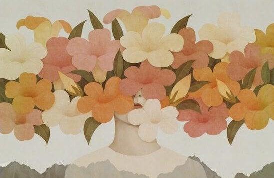 suratı çiçeklerle kapanmış kız