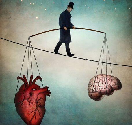 kalp ve beyni dengelemeye çalışan adam