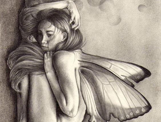 kelebek kanatlı kadın