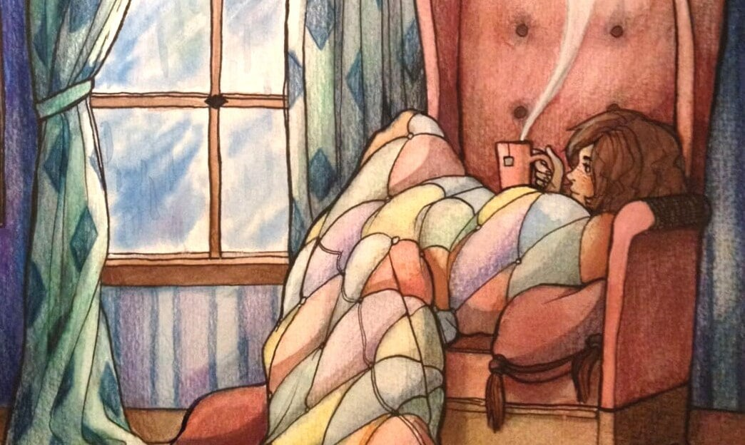 koltukta kahve içen kız