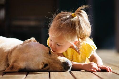 köpeği öpen kız çocuğu