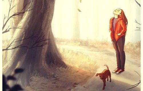 köpeğiyle gezen kız