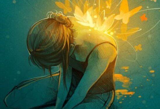 ışık kelebek kanatlı kız