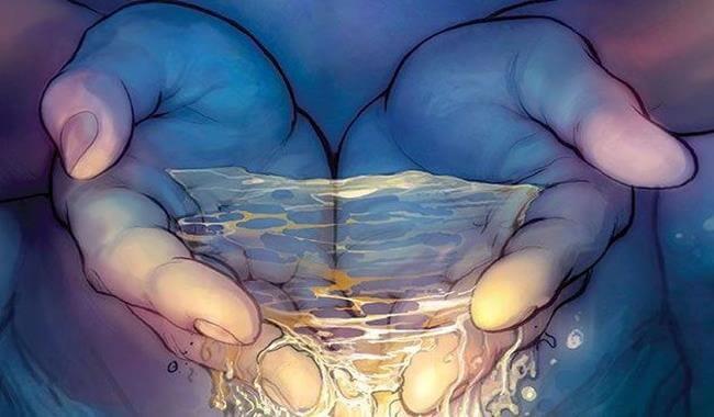 suyu avuçlayan iki el