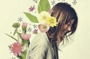 çiçekli kadın