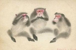 oturan üç maymun