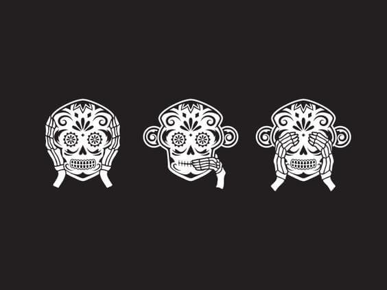 kuru kafa olarak resmedilmiş üç maymun