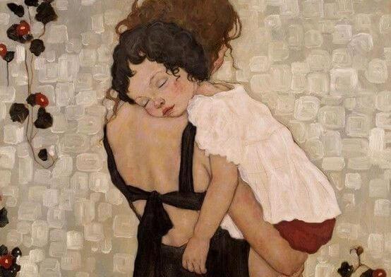 anne ve uyuyan küçük kız