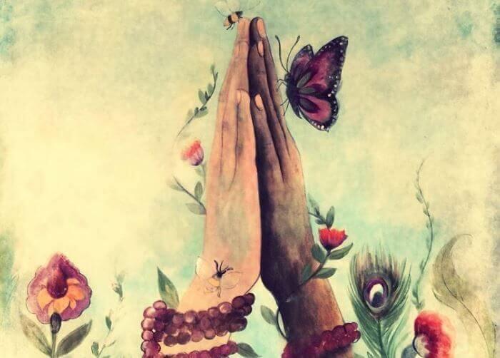 birleşen eller, kelebek ve arı