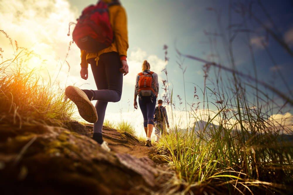 doğa yürüyüşü yapan bir grup insan