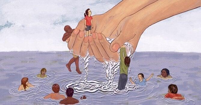 eller boğulan insanları kurtarıyor