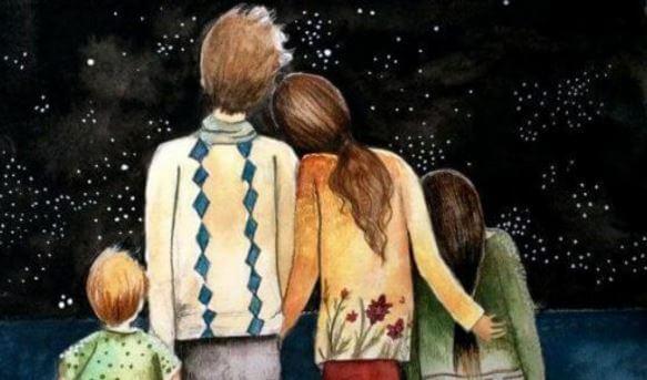 gece yıldızlara bakan aile