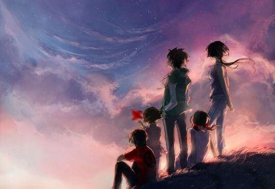güneşin batışını izleyen aile