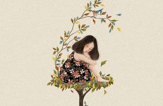 ağacın üzerindeki kadın