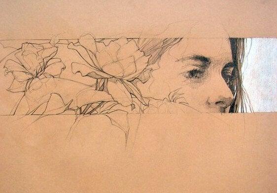 kadının yüzünde çiçekler var