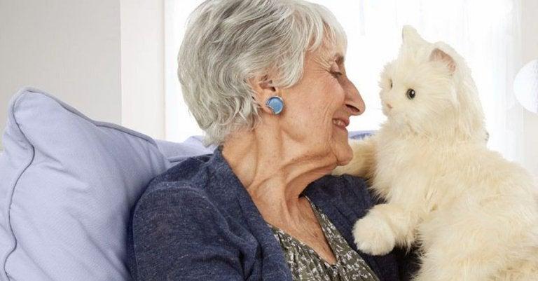 yaşlı kadın ve kedi