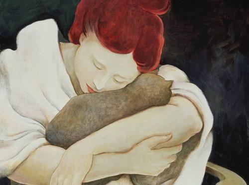 kedisine sarılan kadın