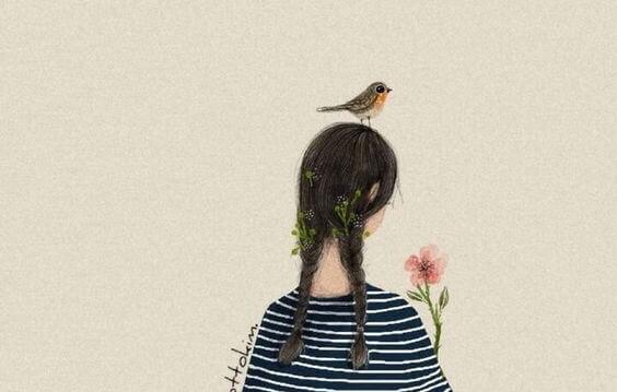 kafasında kuş, elinde çiçek olan örgü saçlı kız