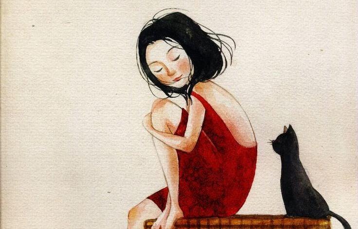 kırmızı elbiseli kız ve kara kedi