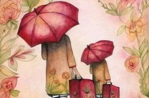 kırmızı şemsiyeler