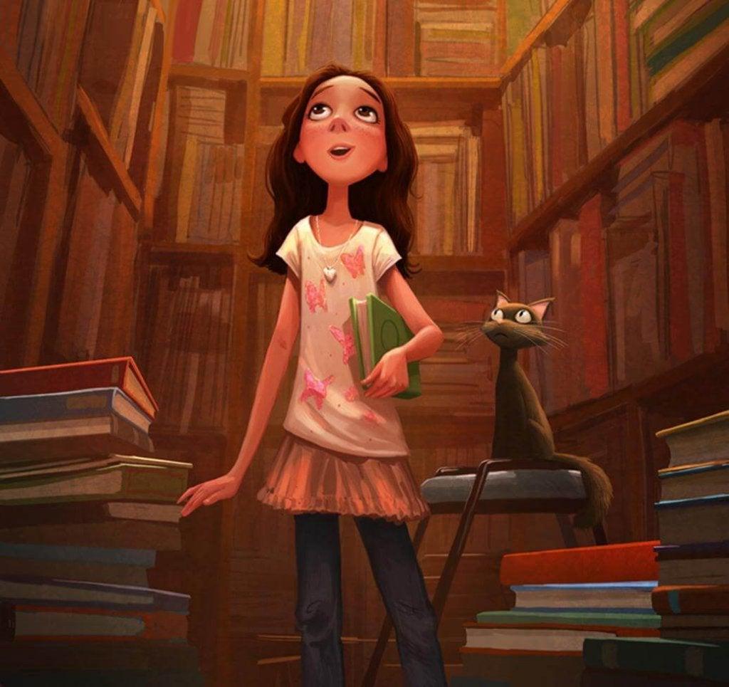 kütüphanede bir kız