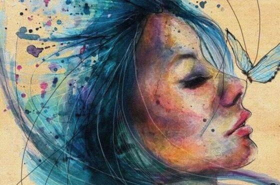 mavi kelebek ve mavi saçlı kadın