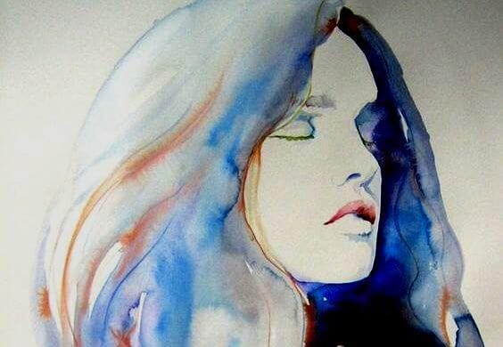 mavi saçlı kadın portresi