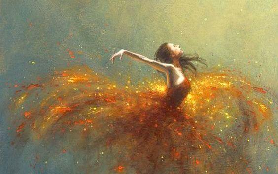 ateş elbiseli kadın
