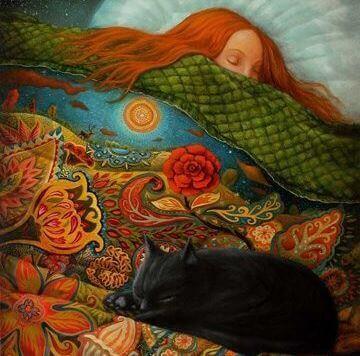 uyuyan kadın ve kedi