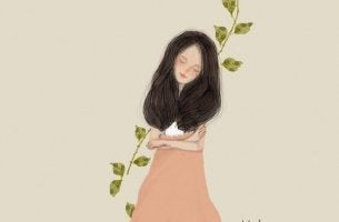 kadın ve yapraklar