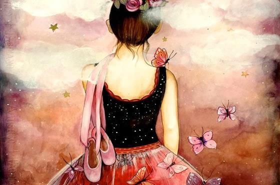 pembe bale ayakkabılı arkası dönük kız ve pembe kelebekler