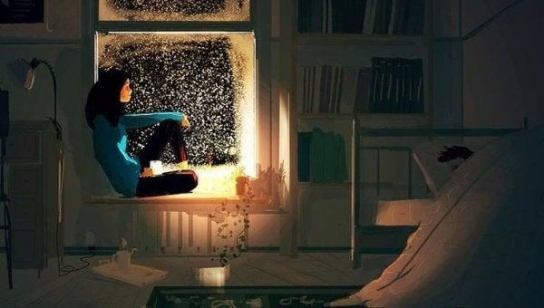 gece pencereden bakan kadın