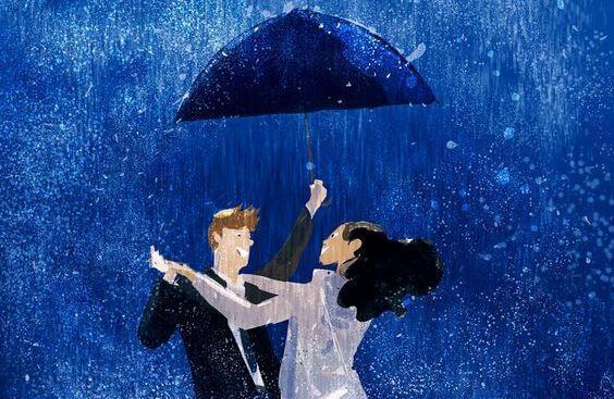 şemsiye altında dans eden çift