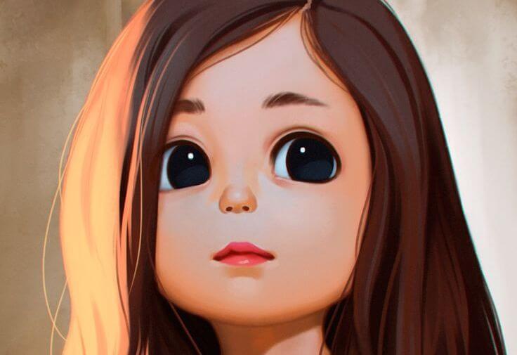siyah gözlü küçük kız çocuğu