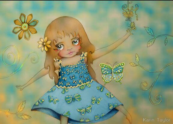 kelebek ve üzgün küçük kız