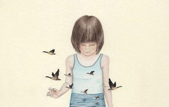 üzgün küçük kız ve kuşlar