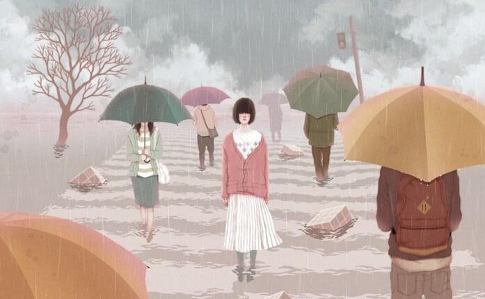 yağmurda şemsiyesiz genç kız