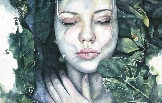 yapraklı kadın