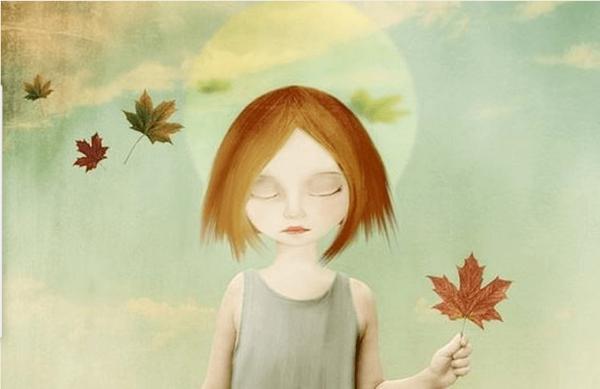 yaprak tutan kız