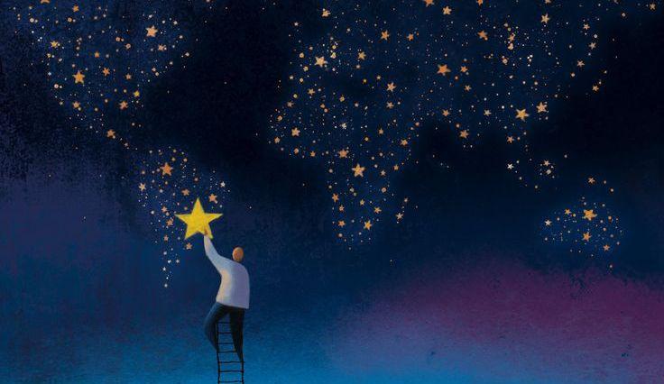 gökyüzüne merdiven dayamış, yıldızlardan oluşan dünya haritası yapan adam