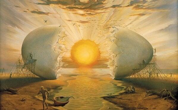 içinden güneş çıkan yumurta