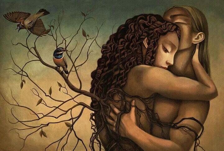 ağaç dalları, sarılan çift ve kuş