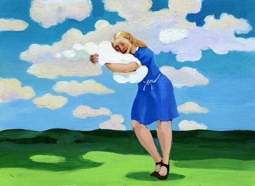 bulutlara sarılan kız