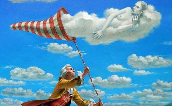 bulut kadını yakalamaya çalışan adam